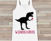 Dinosaur Wine Tank Top - Winosaurus - White Flowy Tank - Fun Gift Idea - Funny Shirt For Her - Wine Lover Gift Idea - Dinosaur Lover Gift