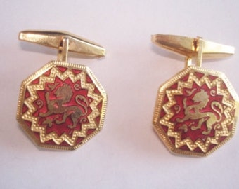 Lion Cuff Links Red Gold Tone