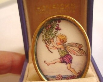 Fairy Playing Vintage Jewelry Brooch KL Design
