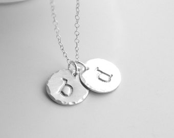 Silver Initial Necklace - Best Friends Gift - Mom Necklace - Personalized Initials Necklace - Sterling Silver Monogram Necklace