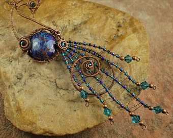 Wire Wrapped Pendant Necklace, Lampwork Necklace, Peacock, Oxidized Copper #N635