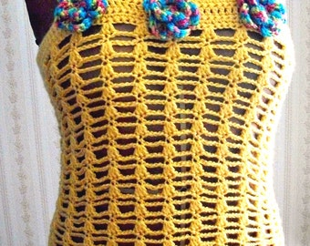 Crochet Top/Tank, Women, Teens in Maize Yellow by AngelAndFairyDesigns on Etsy.com