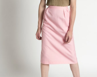 Vintage 60s Rosy Pink High Waist Pleated Midi Skirt with Pockets | 0/2