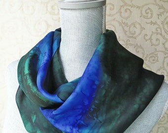 Silk Scarf Hand Dyed in Deep Forest Green and Cobalt Blue