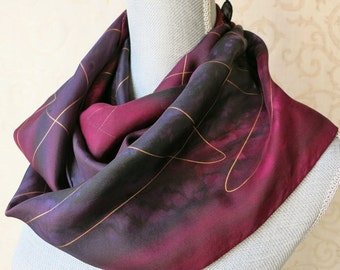 Hand Painted Narrow Silk Scarf in Wine and Plum with Gold