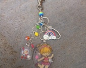 Closeout Rainbow Brite and Twink Purse Charm, Cute Zipper Pull, Backpack accessory, Rainbow Charm, Handmade