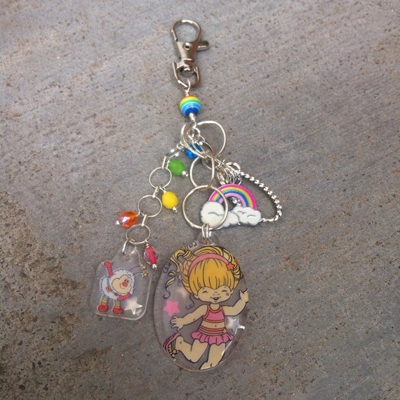 Closeout Rainbow Brite and Twink Purse Charm, Cute Zipper Pull, Backpack accessory, Rainbow Charm, Handmade