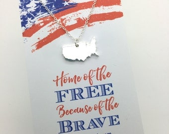 Home of the Free because of the Brave - United States Necklace - Patriotic jewelry Gift, 4th of July, red white and blue jewelry, USA card