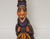 Halloween Witch Wood Carving Folk Art Sweet Hag OOAK