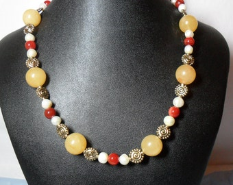Warm Golden Calcite, Carnelian and Pearl Necklace (5/2016)