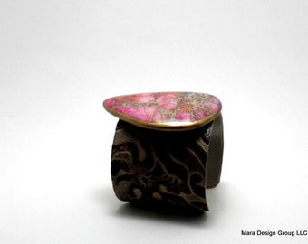 "leather cuff bracelet  - embossed leather with pink jasper - 2"" wide"