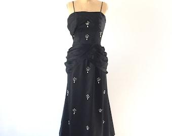 Black Satin Formal Evening Gown 1960s Vintage Beaded Draped Fishtail Maxi Dress XS