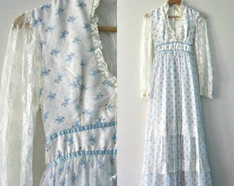 Vintage 70s Gunne Sax style maxi dress / Country Hippie flower prairie dress