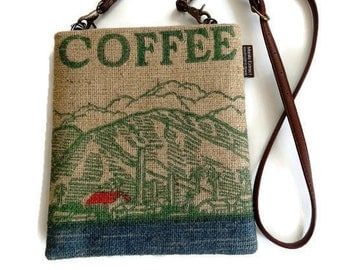 MTO. Custom. Maui Cross Body Bag. Mini-Messenger. Repurposed MauigrownCoffee Bag. Handmade in Hawaii.