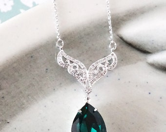 Aurora - Emerald Swarovski Crystal Teardrop Necklace, Vintage Style Bridesmaid Necklace, Bridal Wedding Jewelry, Swarovski Crystal Drops