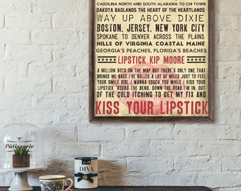 Lipstick / Kip Moore / Digital Song Poster / Printable