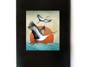 Flying Cranes Journal, Traditional Japanese Chinese Asian Art, Black Leather Writing Notebook, Original Design