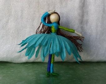 2 inch blue ballet dancer, Mini Flower Fairy, Art Doll, Waldorf, Art Doll, Worry Doll