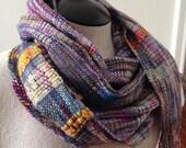 Handwoven Saori Merino & Silk  Scarf / Wrap / Lightweight / Multicolor / Purple / Boho / Long / Spring / Summer / Fall / Women / Unisex
