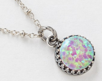 Silver Opal Necklace, Opal Pendant, Pink Opal Necklace in Silver Filigree Bezel with Beaded Chain, October Birthstone Opal Jewelry Gift 3038
