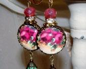 Ruby roses art print image bead earrings Pamelia Designs Sacred Jewelry