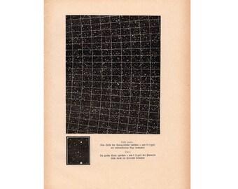 1900 ANTIQUE STAR CHART print original antique celestial astronomy lithograph