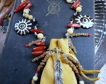 Doctor Bird Medicine Man Necklace & Bracelet. Tribal Leather Shaman Pouch African Myrrh  Carved Bone Red Jasper Feather charm Talisman Set