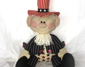 Patriotic decor | Uncle Sam Doll | 4th of July decor | Red white blue decoration | Primitive Patriotic doll | Americana decor |  USA decor