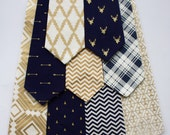 Little and Big Guy NECKTIE Tie - Navy and Gold Holiday Collection - (Newborn-Adult) - Baby Boy Toddler Teen Man - Gold