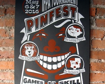 Pinfest Poster - Pinball Gameroom Limited Edition Screenprint Poster 25x19