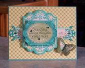 """Handmade Get Well or Sympathy Card - 5 1/2"""" x 4 1/4"""" -  Floral Themed - Sending Caring Thoughts Your Way"""