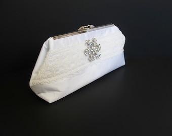 Bride clutch/ivory clutch/ silk clutch/ white clutch/ wedding clutch/ bling clutch/ lace ribbon/ rhinestone pin/one of a kind