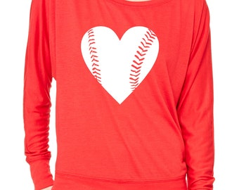 Baseball Slouchy Off Shoulder Tee. Baseball Mom Shirts. Mothers Day Gift. Baseball Girlfriend Tshirt. Baseball Heart Slouchy Shirt. Baseball