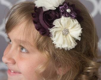 Plum hard headband, eggplant headband, purple wedding flower girl gift, ivory flower headband, toddler headband, bridal headband, photo prop