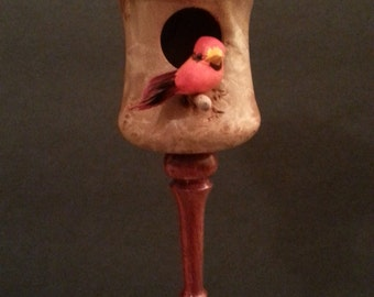 REDUCED WAS 85 Birdhouse Ornament Exotic Bloodwood and Maple Burl Wood With Stand #2141