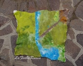 waldorf Inspired iwool felted playscape/ playmat waldorf toy large size ecofrendly green,  decorating a child's room