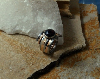 steel and bronze ring. mixed metal ring. Garnet ring.