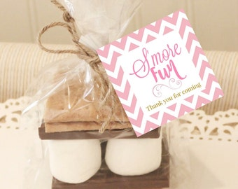 20 S'mores Favor Tags, Pink S'mores Favor Tags, Baby Shower S'mores Tag, Wedding Favors, S'mores Wedding Favors, Favor S'mores, Gift Tags