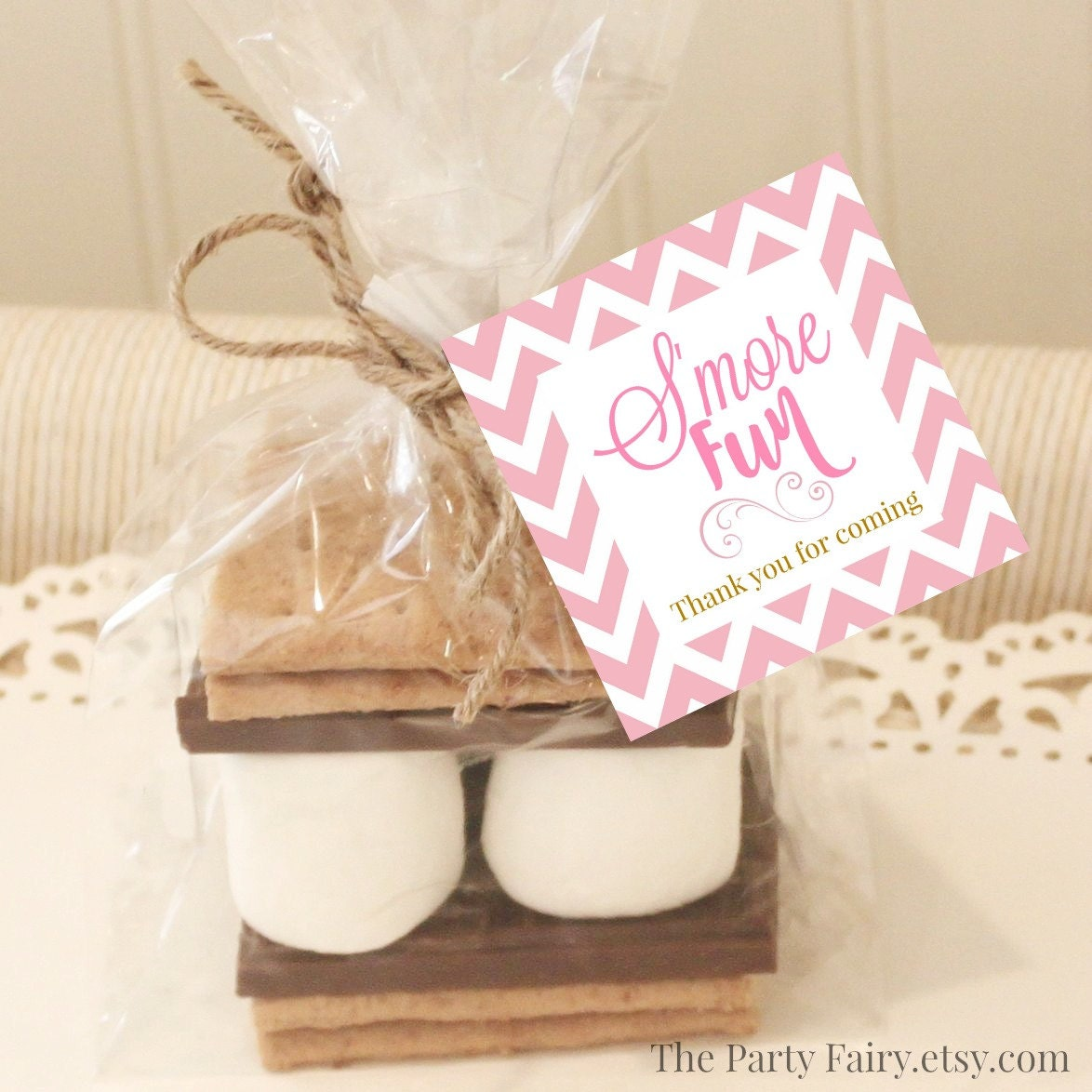 20 s 39 mores favor tags pink s 39 mores favor tags baby - Baby shower favor tags ...