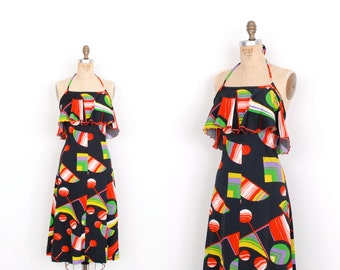 Vintage 1970s Dress / 70s Geometric Print Halter / Black and Red ( medium M )