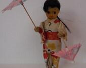 Vintage LINEMAR Wind Up Geisha Girl Doll Twirling Umbrellas LINE MAR Japan
