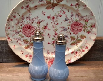 BEAUTIFUL BLUE Opaque Pressed Glass Salt and Pepper Shakers