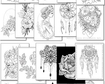 adult coloring book floral tattoo digital download pdf - Tattoo Coloring Book