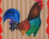 Rooster, Original Mixed Media Painting, Watercolor Painting, Kitchen Art, Collage Art, Chicken, not a print