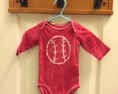 Red Baseball Baby Bodysuit (3 months), Baby Baseball Bodysuit, Baseball Baby Gift, Baby Shower Gift