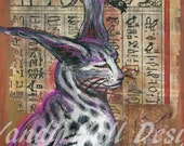 Egyptian Cabbit Print by Vandy Hall, matted, numbered, signed