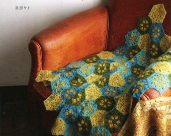 Crochet Blanket & Knit Blanket Pattern, Sato Watanabe, Japanese Knitting, Crocheing Pattern Book, Hand Knitted Blanket Tutorial, B1717