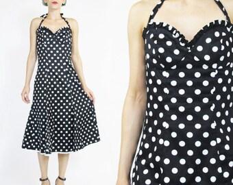 25% OFF SALE Vintage Betsey Johnson Dress Polka Dot Dress Retro Halter Dress Black White Sweetheart Bustier Dress Ruffle Flared Dress (S)
