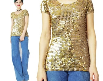 Vintage Gold Sequin Top Mesh Knit 90s Sequin Top Crochet Tank Fancy Glam Party Top Gold Tshirt Metallic Gold Evening Square Sequins (S/M)