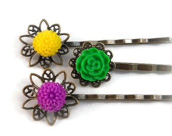 Flower Bobby Pins, Yellow Green Purple, Spring and Summer Hair Accessories, Tween Girl Gifts, Gifts Under 10, Teenage Girl Gifts, Small Gift